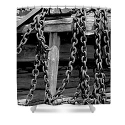 Old Wood And Chains Bw Shower Curtain