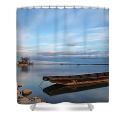 On The Shore Of The Lake Shower Curtain