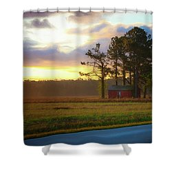 Shower Curtain featuring the photograph Onc Open Road Sunrise by Cindy Lark Hartman