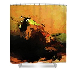 Orange Bull Cat Shower Curtain
