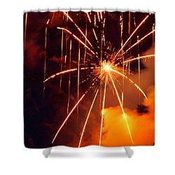 Orange Chetola Fireworks Shower Curtain