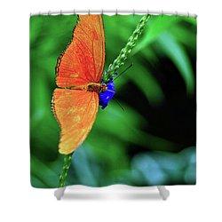 Orange Julia Butterfly Shower Curtain