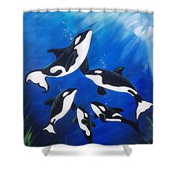 Orca Family  Shower Curtain