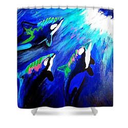 Shower Curtain featuring the painting Orcas  by Jennah Lenae