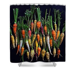 Organic Rainbow Carrots Shower Curtain