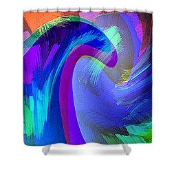 Original Fine Art Digital Abstract Warp10c Scaled Blue. Shower Curtain