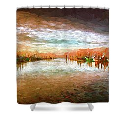 Outer Banks Fishing Boats At Oregon Inlet Ap Shower Curtain