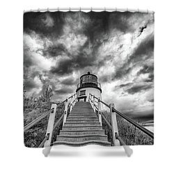 Shower Curtain featuring the photograph Owls Head Lighthouse In Black And White by Rick Berk