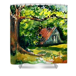Ozarks Barn In Boxley Valley - Late Summer Shower Curtain