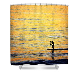 Shower Curtain featuring the photograph Paddle Boarder Malibu by John Rodrigues