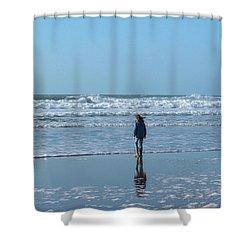 Paddling At Sandymouth Beach North Cornwall Shower Curtain