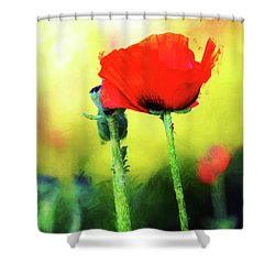 Painted Poppy Abstract Shower Curtain