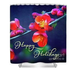 Painted Quince Blossoms Winter Holiday Art Shower Curtain