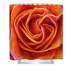 Shower Curtain featuring the mixed media Painted Rose by Onyonet  Photo Studios