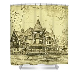 Pair Of Twin Cottages, Hastings Square, Spring Lake, Nj Shower Curtain