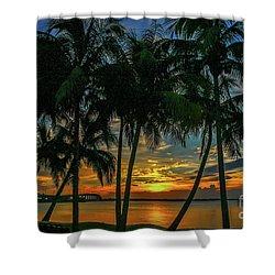 Palm Tree Lagoon Sunrise Shower Curtain