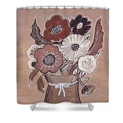 Shower Curtain featuring the painting Paper Bag Bouquet by Robin Maria Pedrero