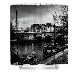 Paris At Night - Seine River Towards Pont Neuf Shower Curtain
