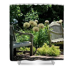 Park Benches At Chicago Botanical Gardens Shower Curtain