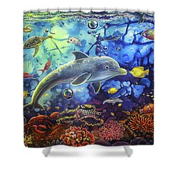 Past Memories New Beginnings Dolphin Reef Shower Curtain