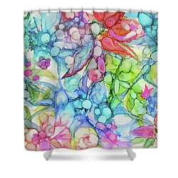 Pastel Flowers - Alcohol Ink Shower Curtain