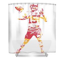 Patrick Mahomes Kansas City Chiefs Apparel T Shirt Pixel Art 1 Shower Curtain