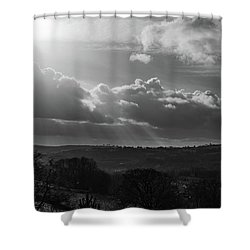 Peak District From Black Rocks In Monochrome Shower Curtain