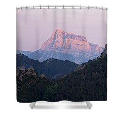 Shower Curtain featuring the photograph Pena Montanesa Glowing Red by Stephen Taylor