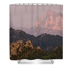 Shower Curtain featuring the photograph Pena Montanesa Sunset Panorama by Stephen Taylor