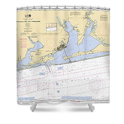 Pensacola Bay And Approaches Noaa Chart 11382 Shower Curtain