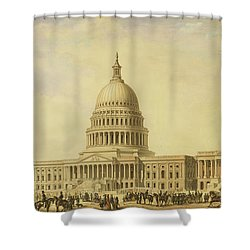 Perspective Rendering Of United States Capitol Shower Curtain