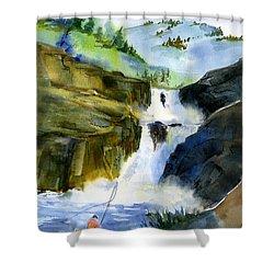 Petroglyph Falls Fishing Shower Curtain