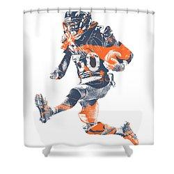 Phillip Lindsay Denver Broncos Pixel Art 2 Shower Curtain