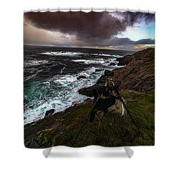 Photo Gear On Landscape Shot Shower Curtain