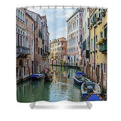 Shower Curtain featuring the photograph Gondolier On Canal Venice Italy by Nathan Bush