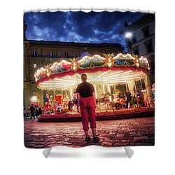Piazza Della Reppublica At Night In Firenze With Painterly Effects Shower Curtain