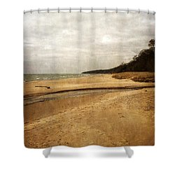 Pier Cove Beach With Driftwood Shower Curtain