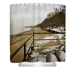 Pier Cove Beach With Steps Shower Curtain