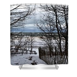 Pier Cove Beach With Winter Waves Shower Curtain