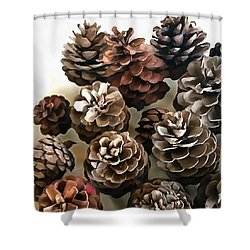 Pine Cones Organic Christmas Ornaments Shower Curtain