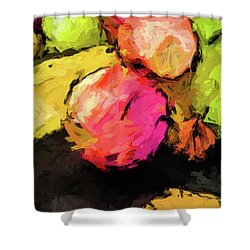 Pink And Green Apples With The Yellow Banana Shower Curtain