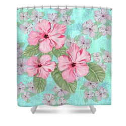 Pink Hibiscus Print On Aqua Shower Curtain