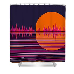 Pink Moonrise Abstract Shower Curtain