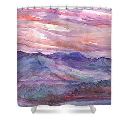 Pink Mountain Landscape Shower Curtain