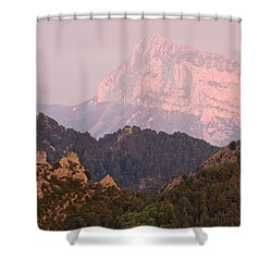 Shower Curtain featuring the photograph Pink Pena Montanesa by Stephen Taylor