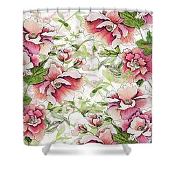Pink Peony Blossoms Shower Curtain