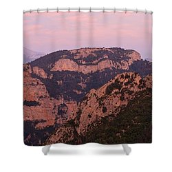 Shower Curtain featuring the photograph Pink Skies Above Pena Montanesa by Stephen Taylor