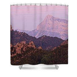 Shower Curtain featuring the photograph Pink Skies And Alpen Glow In The Anisclo Canyon by Stephen Taylor