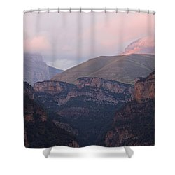 Shower Curtain featuring the photograph Pink Skies In The Anisclo Canyon by Stephen Taylor