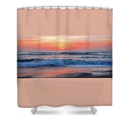 Pink Sunrise Panorama Shower Curtain